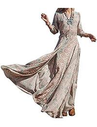NICE BUY Mujeres Vestidos Bohemia Cuello V Hendidura Estampado Manga Larga y Vestido de la playa y elàstico cintura verano maxi del vestido
