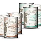 MjAMjAM - Premium Nassfutter für Hunde - Monopaket I - mit Lamm und Pute, 6er Pack (6 x 400 g), naturbelassen mit extra viel Fleisch