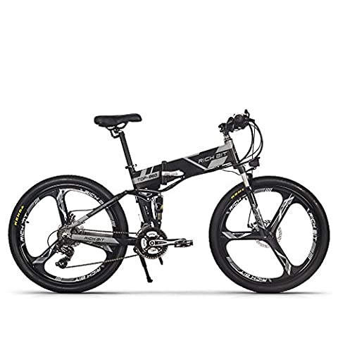 Electric Folding Mountain Bike Mens Bicycle MTB RT860 250W*36V*8Ah 26 Inch Dual Suspension 21Speed SHIMANO Dearilleur LG Battery Cell Double Disc Brake Grey (Magnescium)