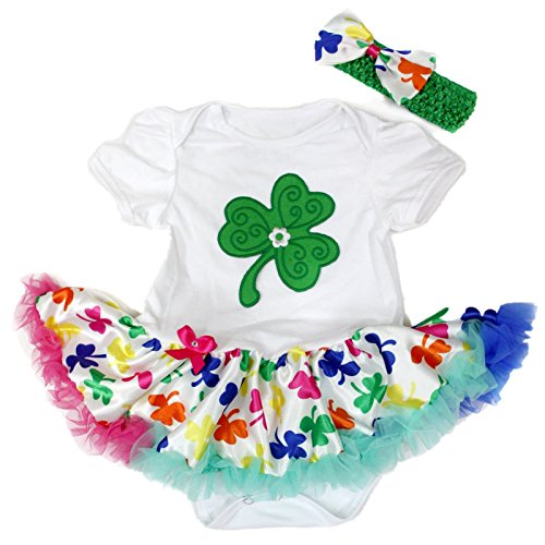 St Patricks Day Clover Leaf White Bodysuit Rainbow Girl Cloth Baby Dress Nb-18m (0-3month) (Baby St Patricks Day Outfit)