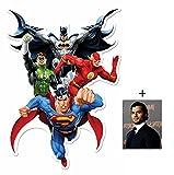 Fan Pack - Justice League Heroes (Batman, Superman, La Flash, Green Lantern) DC Comics effet 3D pop out Silhouette En Carton Wall Art (Mural) - Avec Star Photo (Dimensions 25x20 Cm)