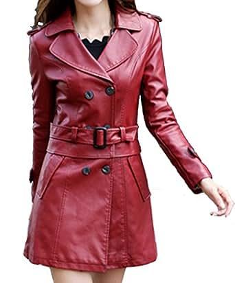Helan Donna Lungo Sport in pelle cappotto del rivestimento di cuoio del motociclo Rosso EU 40