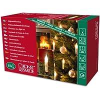 Konstsmide 2313-000 - Guirnalda led para el árbol de Navidad (15 velas esmeriladas, imitación de cera, 230 V, para interiores)