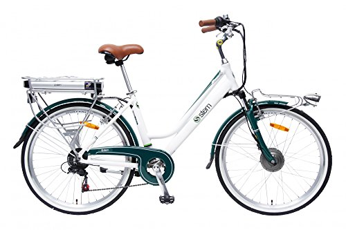 STEM Elektrofahrrad E-Bike Samsung Lithium Akku 26' 250W Shimano 6-Gang Elektromotor inkl. USB, Farbe:weiß-grün