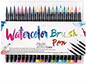 SKY-TOUCH 20 Pieces Color Brush Pens Set Watercolor Brush Pen Color Markers for Painting Cartoon Sketch Callig