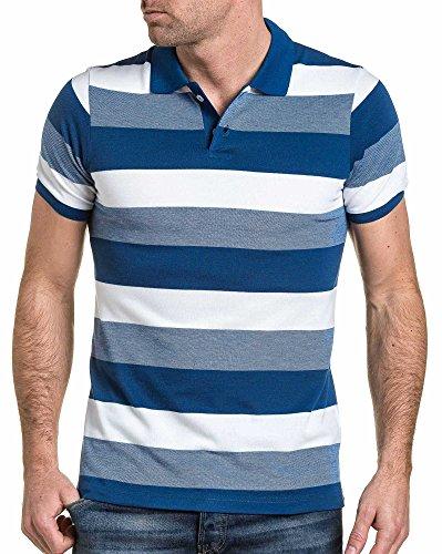 BLZ jeans - Pique Polo blau-weiß gestreiften Mann Blau