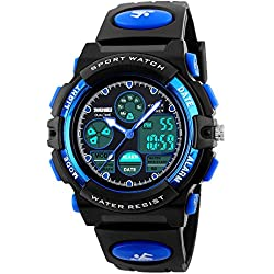 Amstt Unisex Sport Kids Watches Boys Girls Digital Waterproof Alarm Wristwatch for Age 7-15 Year Old Childrens(Blue)