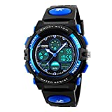 Amstt Unisex Sport LED Analoge Digital Wasserdichte Alarm Wecker Armbanduhr (Blau)