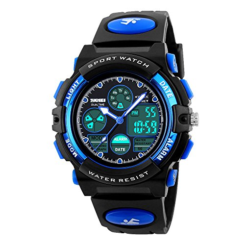 g shock kinder Amstt Unisex Sport Kinder LED Analoge Digital Wasserdichte Alarm Wecker Armbanduhr (Blau)