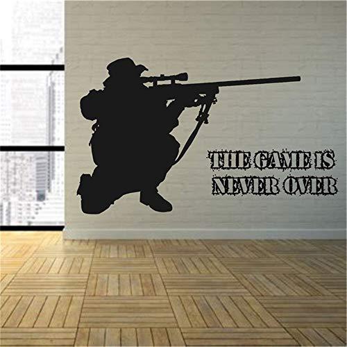 alicefen Spiel Schlafzimmer Armee Scharfschützengewehr Sniper Wandkunst Vinyl Aufkleber Spielzimmer Grafik Transfer Art Deco Boy Zimmer Aufkleber Aufkleber 80 * 48 cm -