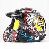 Evin Retro Motorradhelm, innerer Sonnenschutzstrahl Retro DOT Bescheinigung Retro Motorrad Motorroller Sommerhalbhelm Motorradhelm,1,XL