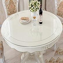 Casa y Hotel Mantel redondo transparente de PVC, Manteles de mesa de vidrio suave Mantel de tela impermeable de mesa de café de mesa de cristal 3MM ( Color : Transparent3.0mm , Tamaño : Round-110cm )