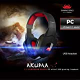 Sumvision PC Gaming Headset Headphone Earphone Akuma 7.1 Surround Sound with Detachable Microphone In-line Remote USB Connection for PC and Laptop