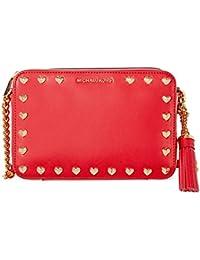 Michael Kors Medium Ginny Heart Studded Camera Bag - Red