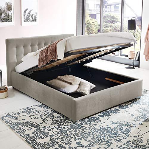 Bett mit Bettkasten Jimmy Samt-Stoff Polsterbett Lattenrost Doppelbett Stauraum Chromefuß (Altweiß, 180 x 200 cm)