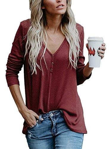 Cnfio Women's Long Sleeve V Neck Loose Oversize T Shirt Tunic Tee Tops Blouses