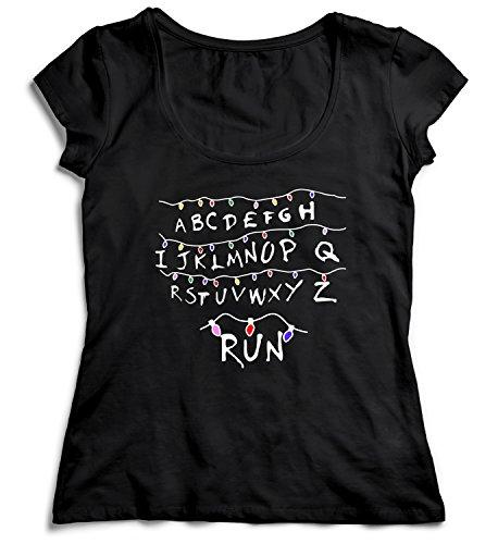 Run Stranger Things Damen Women's Women Lady T-Shirt Black Shirt Baumwolle Organic Cotton Gute Qualität Damen - Tragen Sie Augen-palette