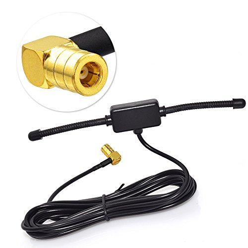 ne SMB Adapter DAB Auto Radio Antenne Patch Aerial Glas- Mount Windshield Antenne mit SMB Right Angle Plug 3m 9.8ft Antenne für Auto Radio MEHRWEG ()