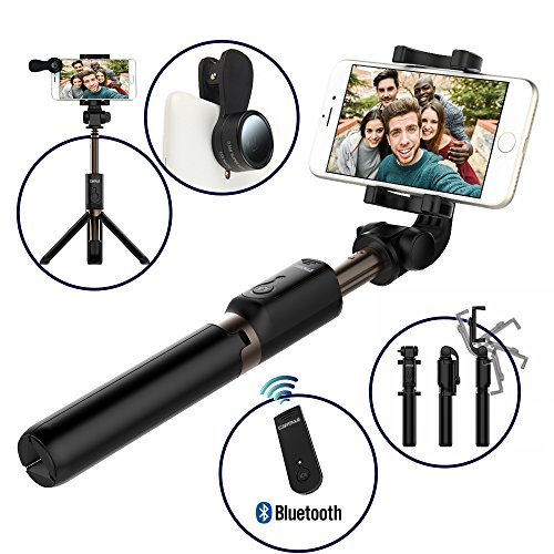 Bluetooth Selfie Stick Tripod with Remote for iPhone 6 6s 7 Plus Galaxy s7 s8 Plus CAIYOULE Extendable Aluminum Monopod and Foldable stand 360 Rotation Fisheye Macro Lens (Black Bundle)