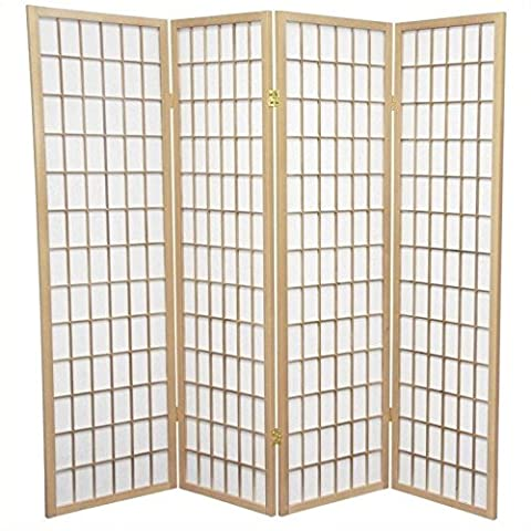 Oriental Furniture Simple Office Cubicle Partition, 5-Feet Window Pane Japanese