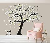 Bdecoll Panda-Baum-Sakura-Wandtattoo Aufkleber für Wohnzimmer Wanddekoration Entfernbare Vinyl Abziehbild Kunst Zuhause Dekorieren (Weiß)