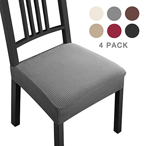 Coprisedie con 4 pezzi moderno coprisedia elastico coprisedia seduta coprisedia antimacchia coprisedia molto facile da pulire e di lunga durata per la sala da hotel, ristorante decor(4 pezzi,grigio)-b