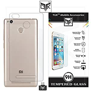 TheGiftKart™ Combo For Xiaomi Redmi 3S PRIME (Combo of 1 Back Cover + 1 Tempered Glass + 1 OTG Adapter) - TheGiftKart™ Ultra Clear Thin Protective Soft TPU Transparent Back Cover + Premium HD Tempered Glass Screen Protector With Rounded Edges + OTG Adapter (Not Compatible With Xiaomi Redmi 3S)