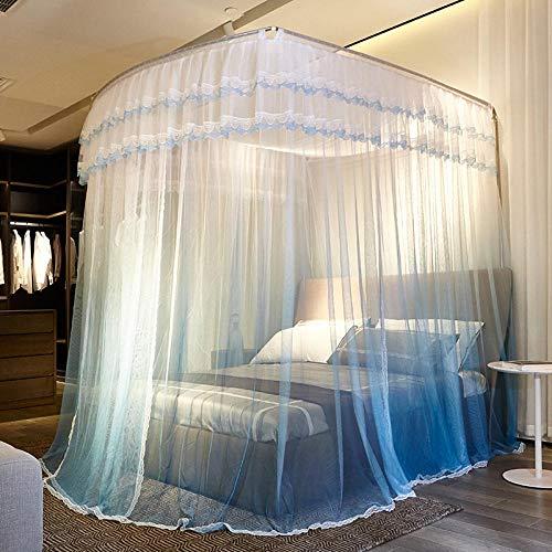 QAZWSX Einziehbares Moskitonetz - Palace Moskitonetz_u Typ dreitürige Angelrute nach Hause Double Floor Court @ Gradient lila
