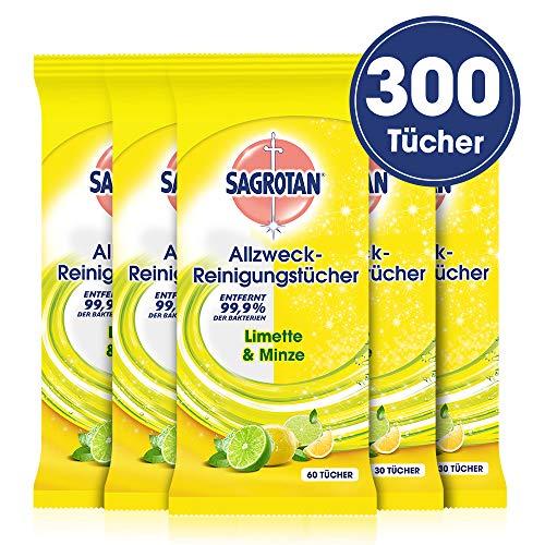 Sagrotan Allzweck-Reinigungstücher Limette & Minze - Zur praktischen Reinigung von Oberflächen - 5 x 60 Feuchttücher in wiederverschließbarer Verpackung