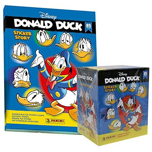 85 Jahre Donald Duck Disney Sammelsticker - 1 Display (50 Tüten) + 1 Album 85