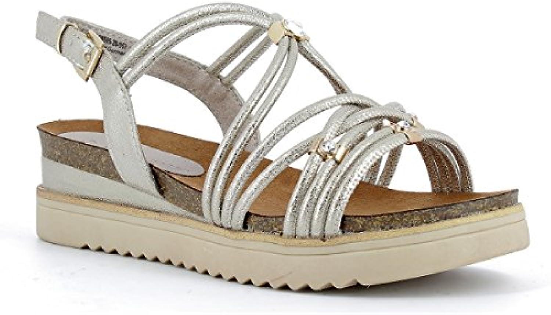 MARCO TOZZI Coole Damen Synthetik Metallic Keil Sandalen Platinum Textilfutter 1440153/36