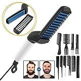 Glattes Haar kämmen für Männer,Elektrische Professioneller Multifunktionale Schnelle Bart Haar Glätter Kamm - Keramische Ionenheizungssteuerung,Tragbare Bürste mit Anti-Verbrühungsfunktion