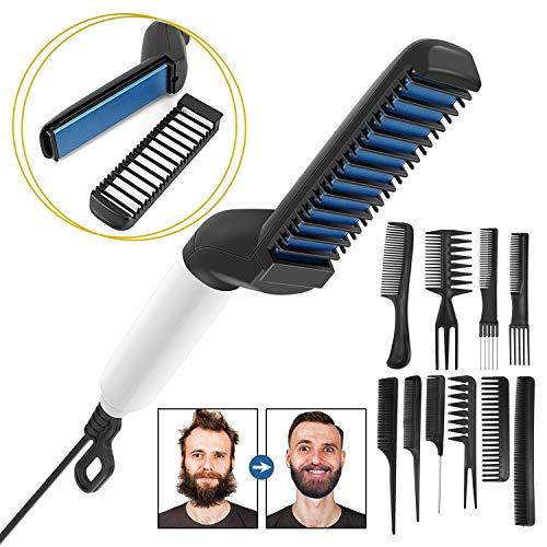 für Männer,Elektrische Professioneller Multifunktionale Schnelle Bart Haar Glätter Kamm - Keramische Ionenheizungssteuerung,Tragbare Bürste mit Anti-Verbrühungsfunktion ()