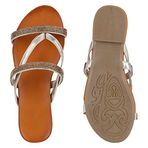 Damen Zehentrenner Beach Schuhe Lack Flats Sandalen Gold Brooklyn
