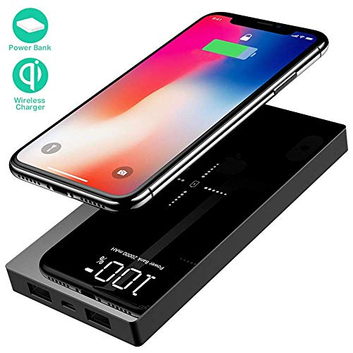 Yizer Cargador Inalámbrico Rápido Power Bank 20000mAh Cargador Móvil Portátil Batería Externa con 2 Puertos y LED Digital Display Portátil Wireless Charger para Tablet, Smartphones y Tods con Qi