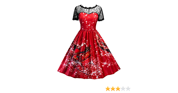 TWIFER Damen Weihnachten Kleid Lace Up Swing Vintage Ballkleid Party Kleider Faschingskost/üme