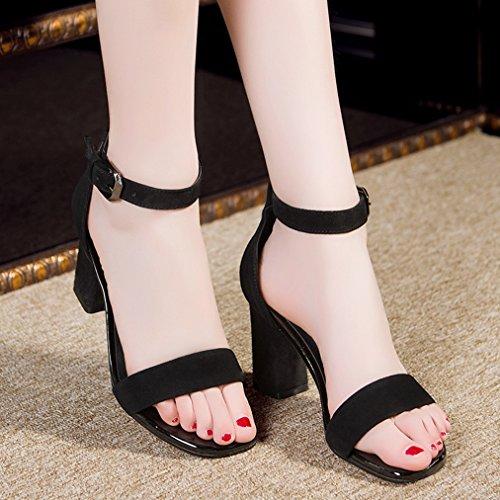Damen Sandaletten Eckig Knöchelriemchen Schnalle Römische Stil Hoch Blockabsatz Einfache Modische Sandalen Schwarz
