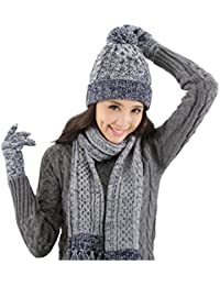 f4544096c1f0 Lantra Besa - Ensemble bonnet, écharpe et gants - Uni - Femme bleu bleu