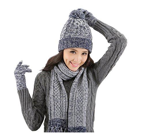 Lantra Besa Damen Beanie Bommel Mütze, Schal und Touchscreen Handschuhe Set für Herbst, Winter und Frühling Warm Wolle Blau-Grau