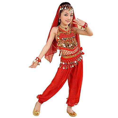 (KINDOYO 5 Stück Kinder Bühne Kostüme, Mädchen Bauchtanz indischen Tanz Kostüm, Chiffon Pailletten ethnischen Tanzbekleidung (Rot, EU XS = Tag S))