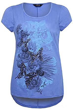Plus Size Womens Cornflower Butterfly Print Cotton T-shirt With Dipped Hem Size 30-32 Blue