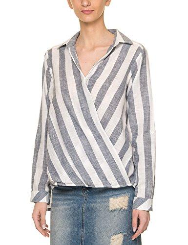 Glamorous Women's Women's Light Blue Striped Shirt Viscose Light Blue