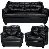 Furny Rosabelle Five Seater Sofa Set 3+1+1 (Black)