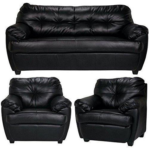 Furny Rosabelle Five Seater 3-1-1 Sofa Set (Standard, Black)