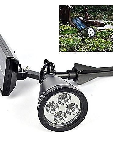 HJLHYL Solar Light Sensor 4-LED Spot Light Outdoor Lawn Landscape Path Way Garden Lamp , cool white-black