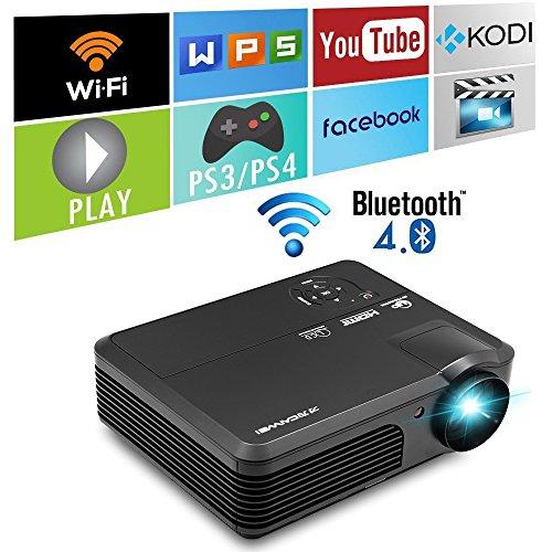 Android Beamer Wifi Bluetooth 3200 Lumen HD LED Projektor unterstützt 1080p Digital Heimkino Kino Videoprojektor mit HDMI USB Fernsehapparat Audio Handelschäfen für Laptop PC Smartphone (Vorinstallierte Mp3-player)