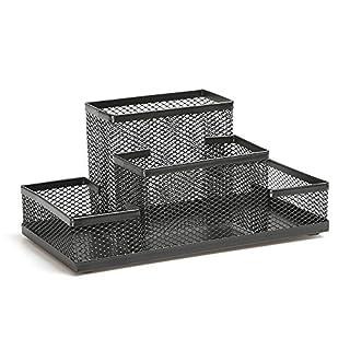 ABO Buero-Tisch Mesh-Stil 3 Faecher Metall Stifthalter Stifteköcher Schwarz, Ly-9125c