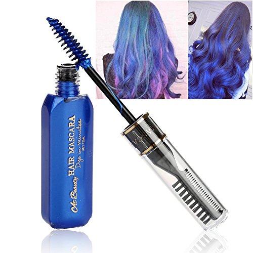 alige Haarfarbe Mascara DIY Wasserdicht Temporäre Modellierung Haar Wachs mit Pinsel, 10ml (Temporäre Blaue Haare)
