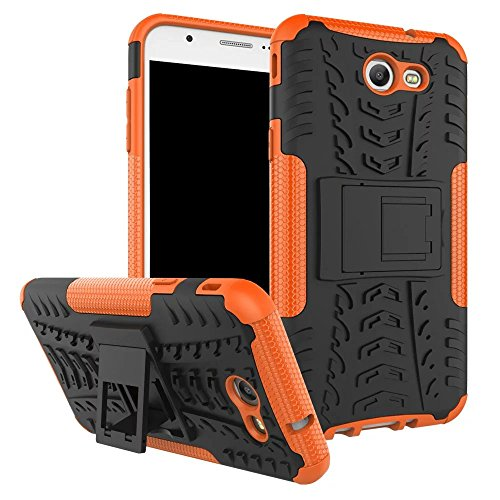 YHUISEN Hyun Pattern Dual Layer Hybrid Armor Case Abnehmbar Kickstand 2 In 1 Shockproof Tough Rugged Case Cover für Samsung Galaxy J7 2017 ( Color : White ) Orange