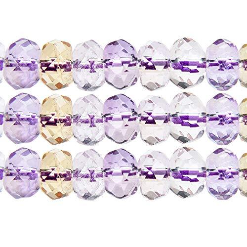 m Rondelle Facettiert Ametrine AAA Grade 38cm Kristall Energie Natürlich Stein Heilung Kraft Therapie für DIY Schmuck Herstellung Bedarf Zubehör ()
